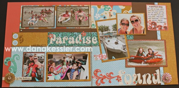 Two Page Summer Beach Scrapbook Layout using CTMH Surf's Up WOTG and Cricut Artbooking #ctmh #scrapbooking