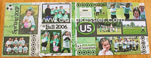 Two Page Soccer Scrapbook Layouts using 12 inch Flip Flap and Artbooking #scraptabulous #ctmh