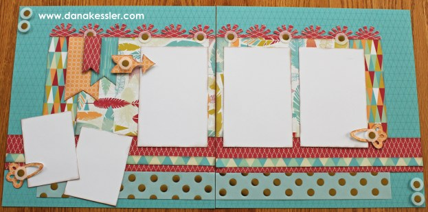 Two page scrapbook layout free to be me summer fun CTMH Cricut #scraptabulousdesigns #ctmh #cricut