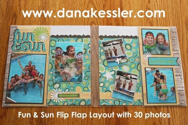 Two Page Summer Pool Layout flip flaps CTMH cricut #ctmh #scraptabulousdesigns #flipflaps #cricut