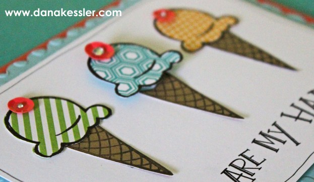 June 2015 SOTM Ice Cream Dream Happy Card #ctmh #cricutexplore #scraptabulousdesigns