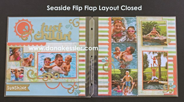 Seaside Pool Summer Beach Scrapbook Layout Flip Flap Interactive #ctmh #flipflaps #scrapatabulousdesigns #cricut #scrapbooking #pagekits