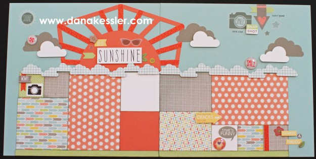 Two page sushine summer scrapbook layout Zoe Artistry #ctmh #scrapbooking #cricutexplore #scraptabulousdesigns