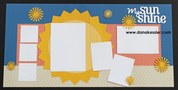 Two Page Scrapbook Layout Sunshine Summer Fundamentals 20 page workshop #pagekits #ctmh #cricutexplore #scraptabulousdesigns #scrapbooking