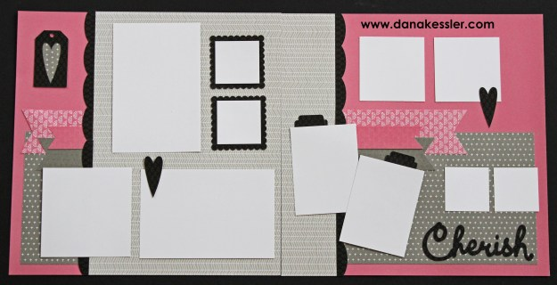 Two Page Scrapbook Layout Fundamentals Cherish Love Valentines 20 page workshop #pagekits #ctmh #cricutexplore #scraptabulousdesigns #scrapbooking