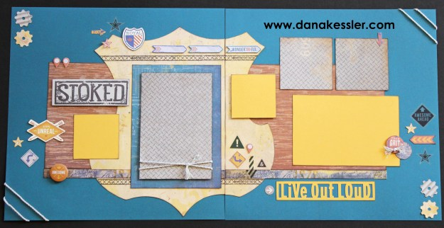 Two Page Urban Scrapbook Layout Teen Boy Travel Denim #ctmhurban #scrapbooking #cricutexplore #scraptabulousdesigns