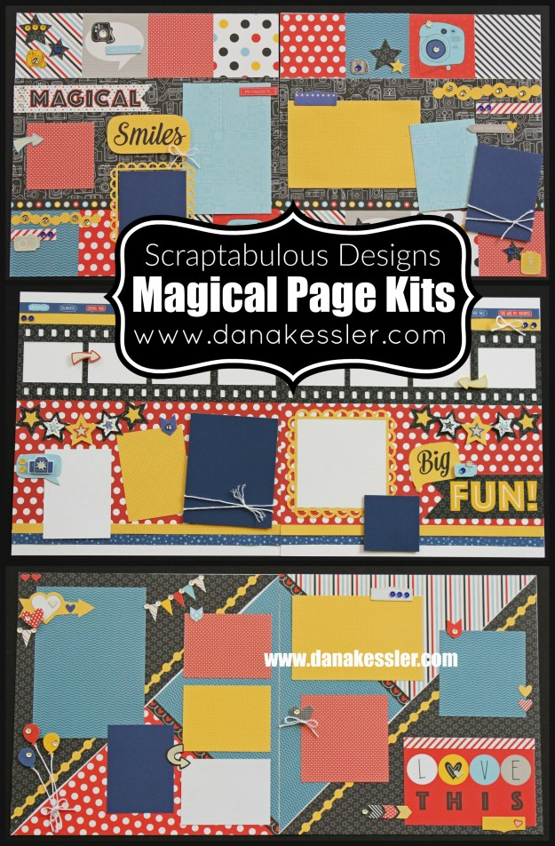 Two Page Scrapbook Layout Page Kit Magical Summer Fun #ctmhmagical #scraptabulousdesigns #cricutexplore #pagekits #scrapbooking