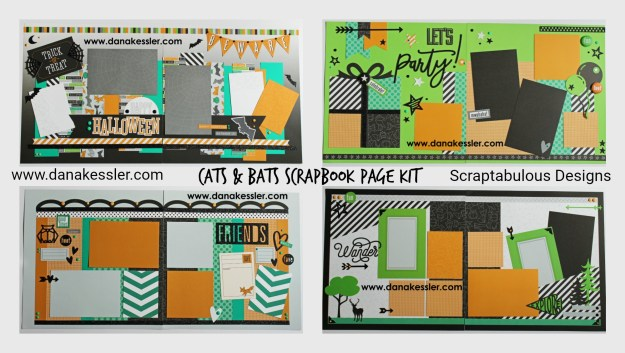 Two Page Scrapbooking Layout Halloween Cats and Bats Fall Friends Wander Hike Party Kids #ctmhcatsandbats #halloween #scrapbooking #scraptabulousdesigns #cricutexplore