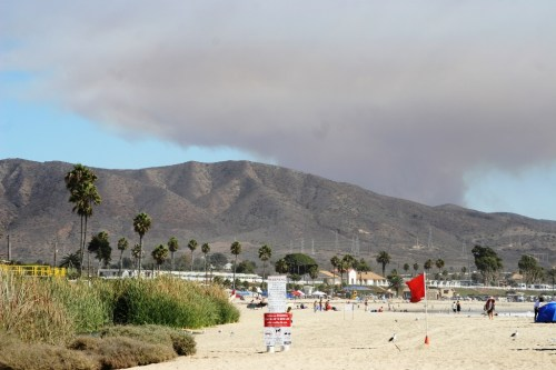 A view of the Camp Pendleton fire from Church Beach at San Onofre State Park on Saturday. Photo by Andrea Swayne