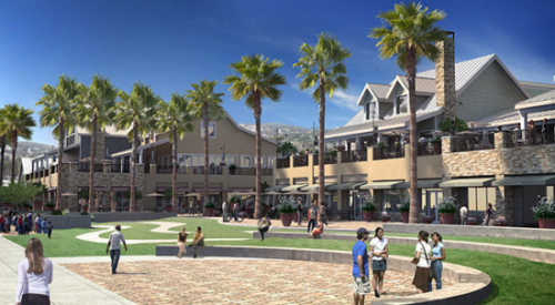 OC Dana Point Harbor revitalization plans include the demolition of buildings currently housing local retailers and eateries. They would be replaced with seven new buildings and a 35,000-square-foot park drawn here. Rendering courtesy of Orange County.
