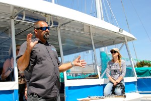 Capt. Todd Mansur, lead naturalist for Dana Wharf Sportfishing & Whale Watching and board member of the Gray Whale Foundation, prepares students for their ocean trip. Photo: Brian Park