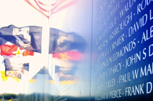 The names of more than 58,000 servicemen and women who lost their lives in the Vietnam War are displayed on a traveling memorial wall that visited Sea Terrace Park last weekend. Photo: Madison May