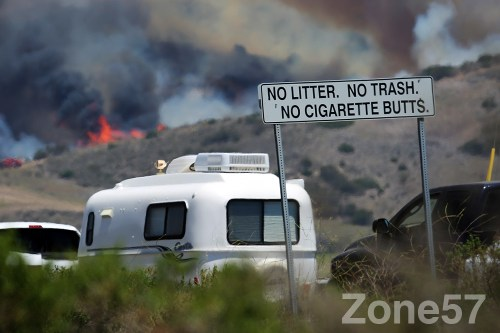 A fire burns at the northen end of Camp Pendleton Photo: Alan Gibby