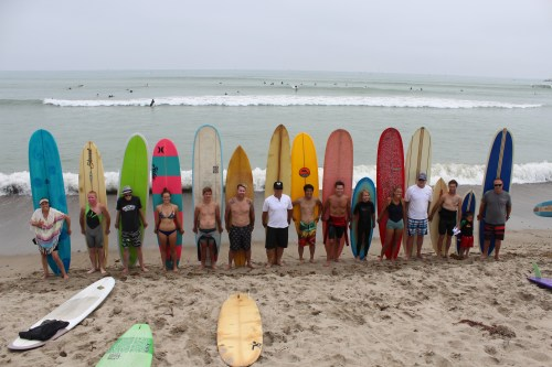 Longboarders gather on the beach for a photo at the 2013 Doheny Surf Festival. Photo: Denny Michael