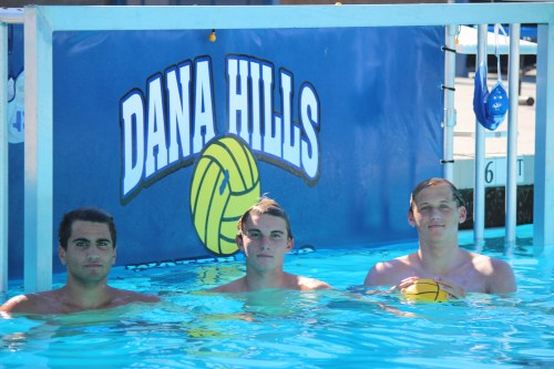 From L to R: Senior Marko Asic, junior Riley Zachary and senior Bennett Williams and the Dana Hills boys water polo team will play for a third consecutive South Coast League title this season. Photo: Steve Breazeale
