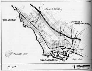 Coast Freeway 1970: Proposed freeway in 1970 from South Coast Scenic Improvement Plan (1969) which included the current revitalization of the Dana Point business district.  Courtesy Orange County Archives.