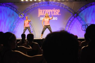 Dana Point-based 30-year Jazzercise instructor Nancy Brady is shown here leading a Jazzercise LIVE event. Photo: Courtesy