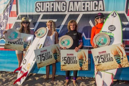 Surfing America Prime Event No. 2 Girls U18 finalists were (L to R) Tia Blanco (San Clemente), Malia Osterkamp (San Clemente), Caroline Marks (Melbourne Beach, Florida) and Ashley Held (Santa Cruz). Photo: Jack McDaniel