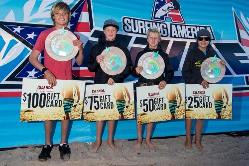 The Boys U14 finalists at Surfing America Prime, Event No. 5, Feb. 7-8 at Upper Trestles were (L to R first to fourth place) Kade Matson, Noah Hill, Griffin Foy and Kai McPhillips. Photo: Jack McDaniel