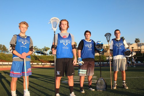 From L to R: Logan Perry, Cade Norland, Jake Harris and Sean Colvin and the Dana Hills boys lacrosse team will take the field with a physical edge in 2015. Photo: Steve Breazeale