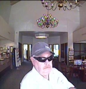 The man in this photo robbed the California Bank and Trust in Dana Point on March 20. Photo: Courtesy of OCSD