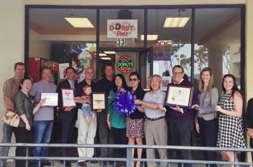 Donut Star celebrated their opening in Monarch Bay Plaza with a Dana Point Chamber of Commerce ribbon cutting ceremony on May 28. Photo: Lauralyn Loynes