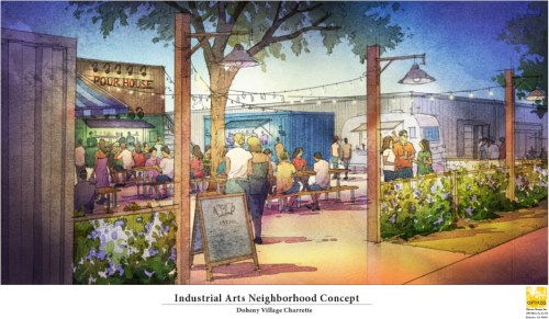 An industrial arts neighborhood concept is one of many plans made during the four-day design charrette for the Doheny Village Plan. Rendering: Courtesy of Opticos Design, Inc.