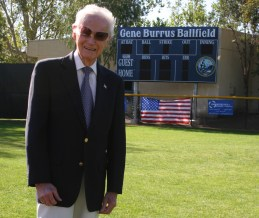 Gene Burrus is shown here in 2012 during the renaming of Mustang Field to the Gene Burrus Ballfield at the Dana Point Community Center. Photo: Andrea Swayne