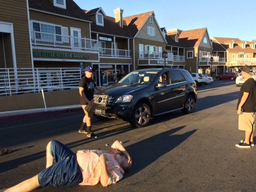 Police are searching for the man in this black Mercedes SUV who witnesses say hit the man on the ground in the Rite Aid/Ralphs parking lot at Golden Lantern and Del Prado in Dana Point at about 5 p.m. on Saturday, Oct. 31,  and then sped off. Photo: Neil Donovan