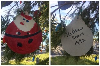 This Santa ornament was hand painted in 1992 by Matthew Sears. Photo: Andrea Swayne