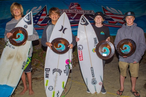 Surfing America Prime Boys U14 finalists (L to R) 1. Kade Matson (San Clemente), 2. Nicholas Coli (San Clemente), 3. Jackson Butler (Encinitas) and 4. Dimitri Poulos (Ventura) braved huge unruly surf on Dec. 12 on their way to the trophy round. Photo: Courtesy of Surfing America
