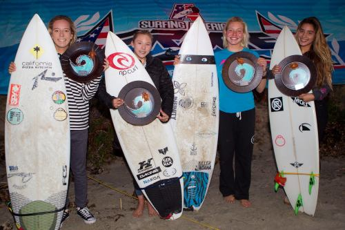 Surfing America Prime Girls U16 finalists (L to R) 1. Tiare Thompson (La Jolla), 2. Alyssa Spencer (Encinitas), 3. Bethany Zelasko (Dana Point) and 4. Alexxa Elseewi (San Clemente) and fellow competitors earned some of the highest wave scores of the day in Saturday's often double-overhead surf. Photo: Courtesy of Surfing America
