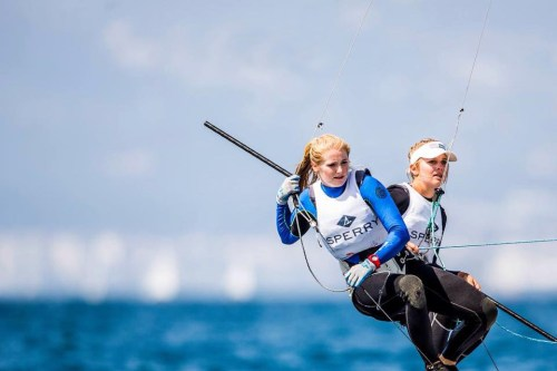Former Dana Point Yacht Club sailor Paris Henken, right, and U.S. Sailing Team Sperry teammate Helena Scutt will represent the United States in the 49erFX sailing event at the 2016 Olympic Games. Photo: Sailing Energy