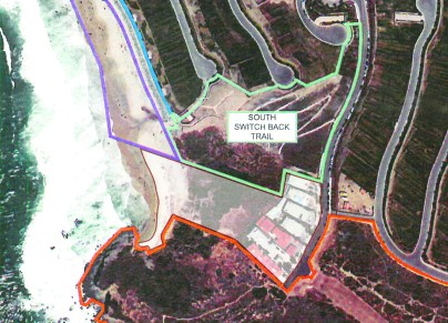 The white shaded section of this map used in the Headlands Development and Conservation Plan shows a small stretch of sand at the south end of Strand Beach was never dedicated to public use. Map: City of Dana Point (Shading added by the Dana Point Times.)