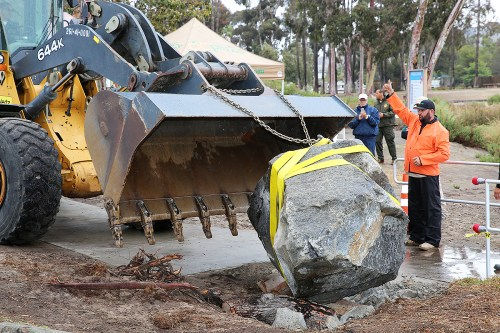Orange County Parks moved an 8-ton granite rock that was sitting over a time capsule buried in 1966. The time capsule will be opened and its contents will be displayed at a celebration on August 29. Photo: Alan Gibby
