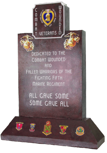 A computer rendering shows the Purple Heart Monument. Dana Point 5th Marine Regiment Support Group members are trying to bring in more funds for the monument. Photo: Courtesy of the Dana Point 5th Marine Regiment Support Group
