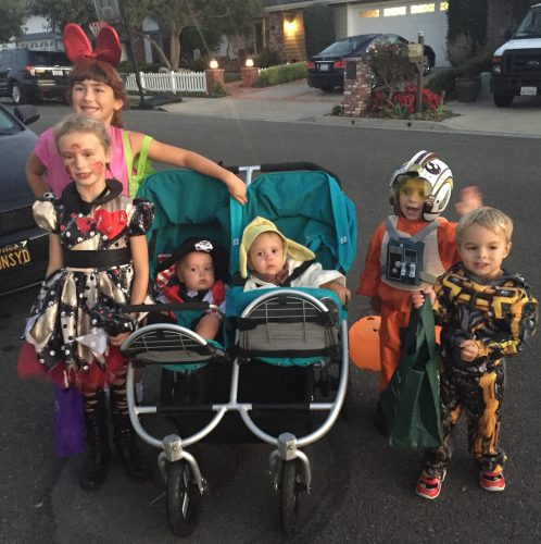 Children dressed up to go trick-or-treating in the Dana Crest neighborhood. Photo: Courtesy of Holly Gale