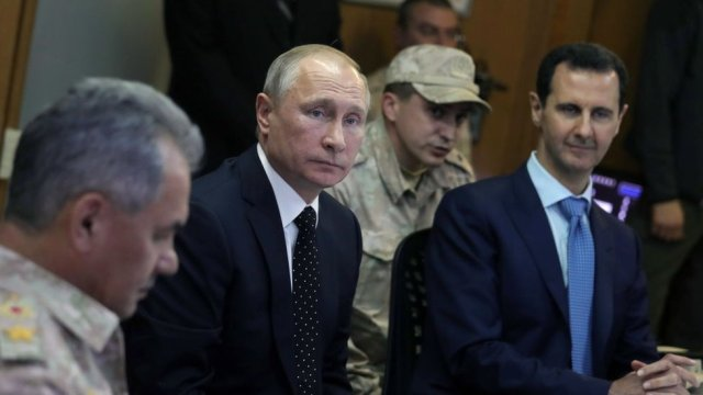 Putin with Bashar al-Assad in 2017
