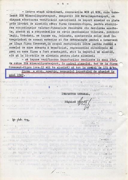 """Documentul ce probează că între firma PCR (ICE Carpați) și firma SIE (Crescent) a câștigat Securitatea în paguba statului român: CRESCENT """"a avut, practic, monopolul importului de alumină în anul 1987""""!"""