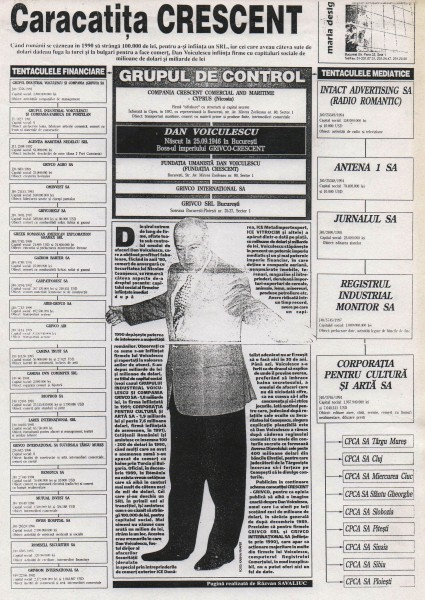 Firmele lui Voiculescu au fost in atentia presei, imaginea de mai sus fiind o pagina din Ziua, semnata de Razvan Savaliuc