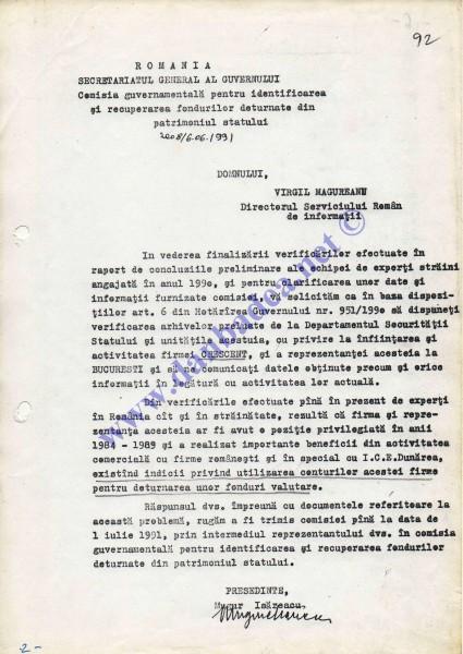 Adresa lui Mugur Isarescu prin care îi cere sprijin de specialitate lui Virgil Măgureanu, patronul SRI, cu privire la CRESCENT
