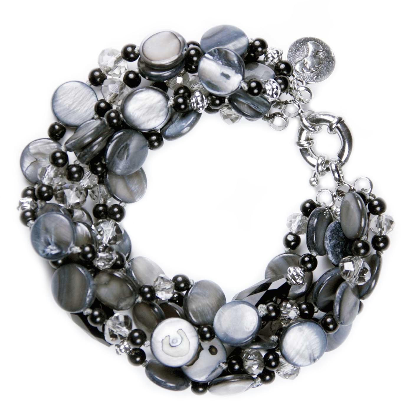 Swarovski Crystal 6 Stranded Light BlackNavy Shell Beads