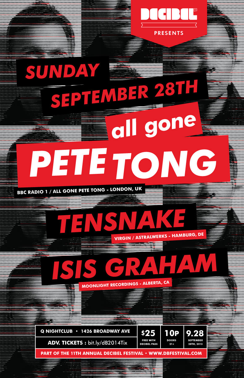 Flier announcing Pete Tong as the headliner to close out Decibel Festival