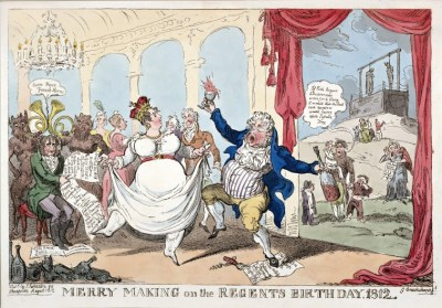 The Prince Regent dancing with another man's wife at his debauched birthday party