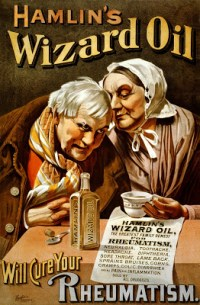 Quack medicine: an 1890 advert for 'Hamlin's Wizard Oil', claiming to cure rheumatism, neuralgia, toothache, headache and diphtheria
