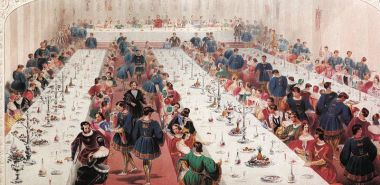 The medieval banquet, looking a lot less rowdy than an actual medieval feast