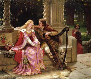 The End of the Song ~ Edmund Leighton, 1902 In this painting, Leighton emphasises the romantic aspect of medievalism