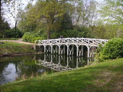 The Chinese bridge at Painshill Park, Surrey. Such follies hint at the popularity of Chinoiserie in 18th century fashion and design.