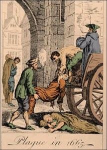 Plague victims being carted away for burial. London, 1665