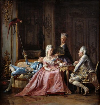 "An 1873 depiction of the court in the ""Time of Struensee"". The intimacy between Caroline and Struensee is unmistakeable, whilst the king's alienation from state affairs is symbolised by his lounging in the background playing idly with a parrot; like him, it is a captive creature. Dowager Juliana Maria stalks in the background, observing the affair and perhaps already planning her coup"